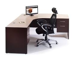 creative white polished iron frame office table with l shaped brown black shaped office desks