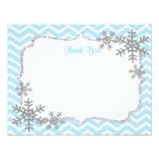 snowflake thank you cards snow party invitations announcements zazzle