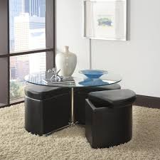 likeable coffee table with ottomans underneath of round storage ottoman seating