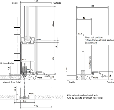 manual sliding folding doors elevation and track details