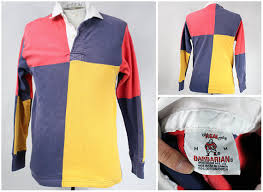new product men clothing finevintagecloset vintage colour block crewneck vintage rugby shirt s