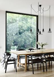 light bright and minimal scandinavian style dining room