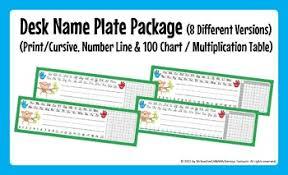 Desk Name Plates Print Cursive Number Line 100 Chart Multiplication Table
