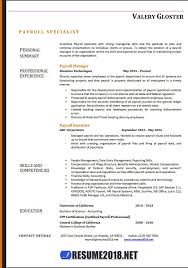 Resume Templates 2018 Gorgeous Resume Template Payroll Payroll Specialist Resume Templates 28
