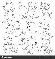 Disegni Di Bambini Per Mano Da Colorare Gatti Di Unicorno Volante