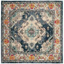 monaco navy light blue 9 ft x 9 ft square area rug