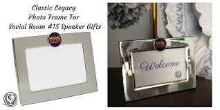custom silver photo frame given as speaker gifts at social boom event
