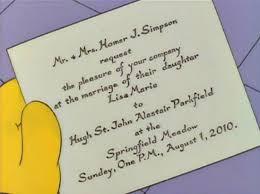 lisa simpson's wedding invitation pophangover Ghetto Wedding Invitations lisa simpson's wedding invitation Worst Wedding Invitations