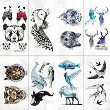 панда тигр волк животные шаблон временные водостойкие наклейки для