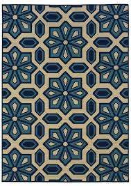 oriental weavers indoor outdoor rectangle area rug 37x56 ivory blue caspian collection emklmbeor