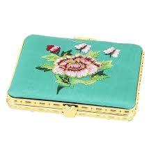 silk embroidery rectangular folding pocket makeup cosmetic mirror turquoise 0