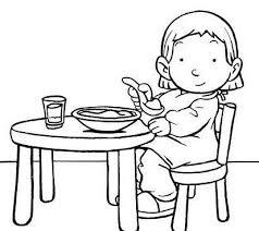 Kleurplaat Eten En Drinken Aan Tafel Kleurplaat Aantafel Eten