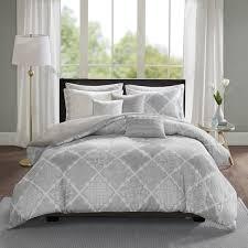 madison park karyna grey 8 piece cotton sateen printed duvet cover set