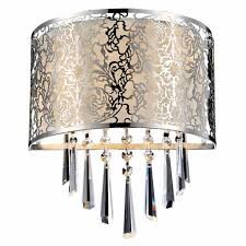brizzo lighting modern drago crystal round laser cut stainless steel shade off white fabric wall sconce