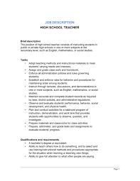 writing a job description template. High School Teacher Job Description Template Sample Form