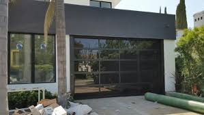 Contemporary Black Aluminum U0026 Laminate Privacy Glass Garage Door
