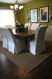 scrolled back parson chairs in white duck cloth