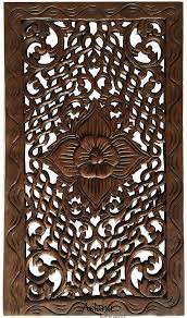 brown 24 tropical carved wood wall