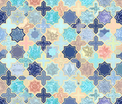 Moroccan Tile Pattern Inspiration Navy Peach And Aqua Moroccan Tile Pattern Fabric Micklyn