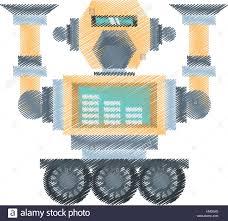 Mechanical Engineering Robots Drawing Robotic Mechanical Engineering Vector Illustration