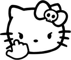 Hello Kitty Flip The Bird Bad Decal Sticker Style 2
