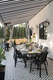 black and white stripe backyard canopy