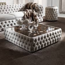 modern on upholstered nubuck leather square coffee table