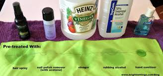Which household products remove ink stains from table linens best?