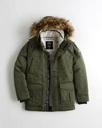 hollister faux fur lined parkas mens olive 768yfthb