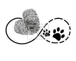 Nálepka Věčnost S Otisků Prstů Srdce A Psí Packa Tiskne Symbol Tetování