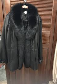 preston and york beautiful xlarge black leather jacket with fox fur trim for in victoria tx offerup
