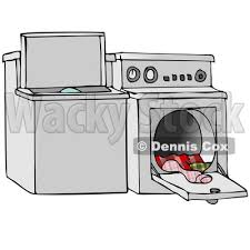 washing machine and dryer clipart. clipart illustration of a top loading washing machine and an open dryer with warm clothes © djart #33887 t
