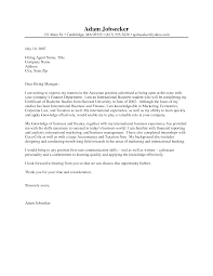 Cover Letter Examples For Students Cover Letter For Internship