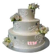 2222 3 Tier Round Wedding Cake With Roses Abc Cake Shop Bakery