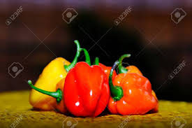Chilli Rojo Naranja Especias Picantes Amarillos Verduras