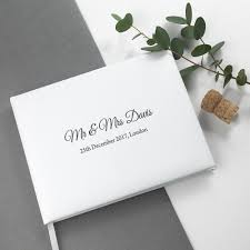 Engraved White Leather Wedding Guest Book Love Unique Personal