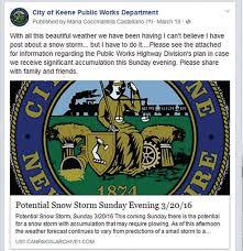 Pre Storm Social Media Postings The City Of Keene N H Fb