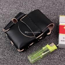 handmade long genuine leather cigarette case box with lighter holder for full pack box of king