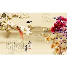 Chinese Bloem Met Vogels Schilderen Behang Maken Chinese Papier