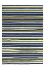 blue multi colour stripe rug 100 cotton 150 x 210cm