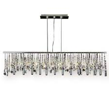 modern 11 light linear chrome chandelier