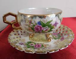Decorating With Teacups And Saucers Vintage LUSTREWARE Porcelain Tea Cup and Saucer Rose pattern Gold 41