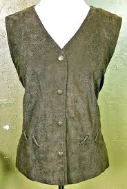 details about lana lee womens size 12 faux leather vest green snap on closure lace up