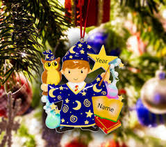personalized christmas tree ornament holiday gift wizard boy wizard