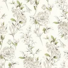 Flower Wall Paper Flower Wallpaper Floral White Cream Green Brown Paste The Wall Modern Luxury