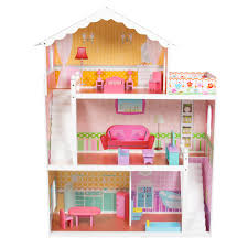 Large Childrens Wooden Dollhouse Fits Barbie Doll House Pink With Next.  modern kitchen cabinet. ...