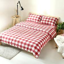 red plaid bedding washed cotton vintage style fabric classical red plaid bed set queen red tartan