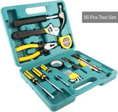 home use diy repair hand tools kit set of 16 pieces yellow black