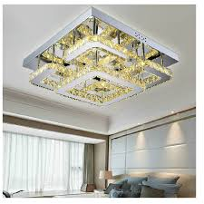 modern led remote control rectangular crystal ceiling lights fixture for bedroom led wireless kitchen ceiling plafond