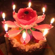 new arrival al lotus flower candles happy birthday candle for cake party gift rotating lights decoration birthday candles black candle from